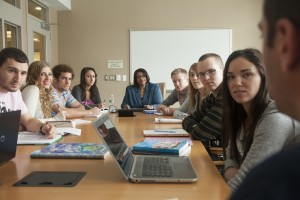 Stock art - college students at meeting